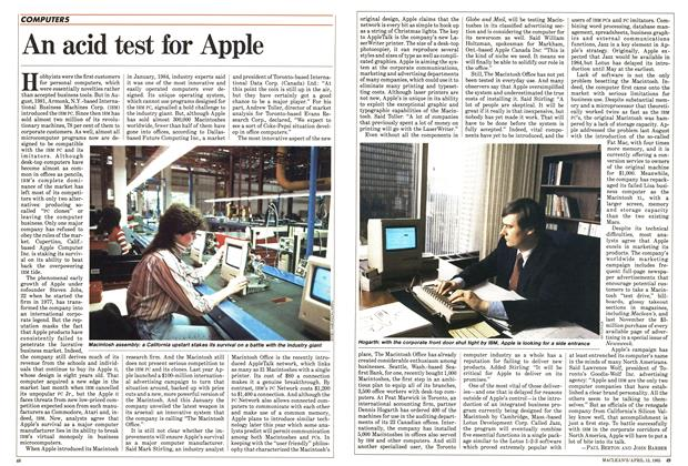 Article Preview: An acid test for Apple, April 1985 | Maclean's