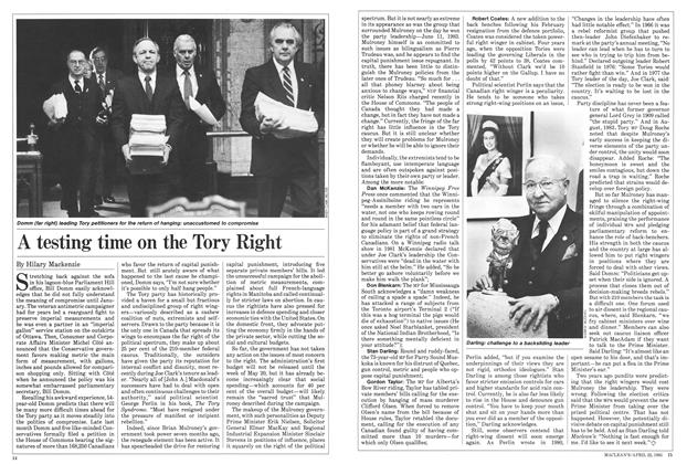 Article Preview: A testing time on the Tory Right, April 1985 | Maclean's