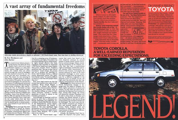 Article Preview: A vast array of fundamental freedoms, April 1985 | Maclean's