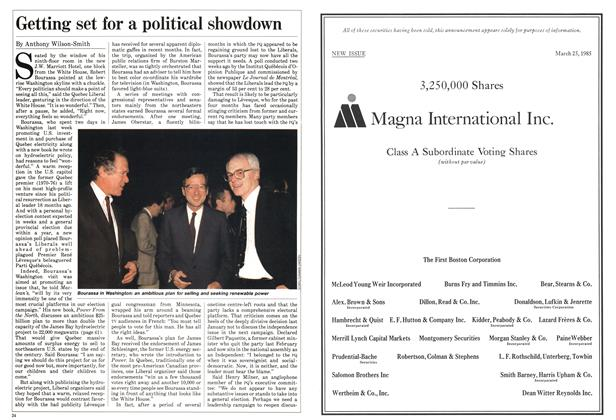 Article Preview: Getting set for a political showdown, April 1985 | Maclean's