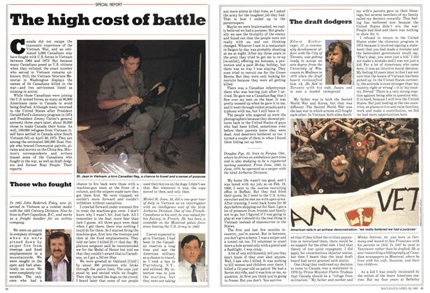Article Preview: The high cost of battle, April 1985 | Maclean's