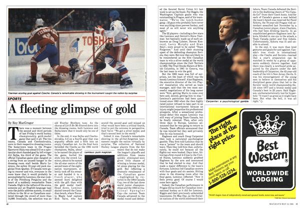 Article Preview: A fleeting glimpse of gold, May 1985 | Maclean's