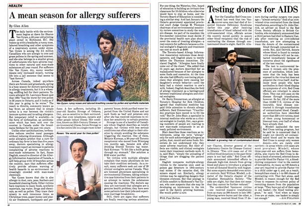 Article Preview: A mean season for allergy sufferers, May 1985 | Maclean's