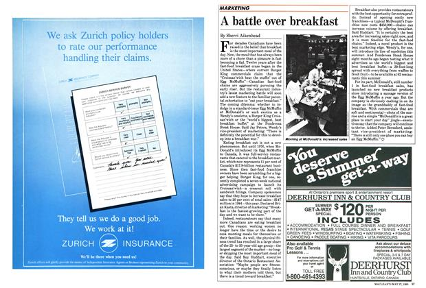 Article Preview: A battle over breakfast, May 1985 | Maclean's