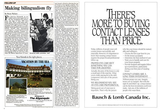 Article Preview: Making bilingualism fly, May 1985 | Maclean's