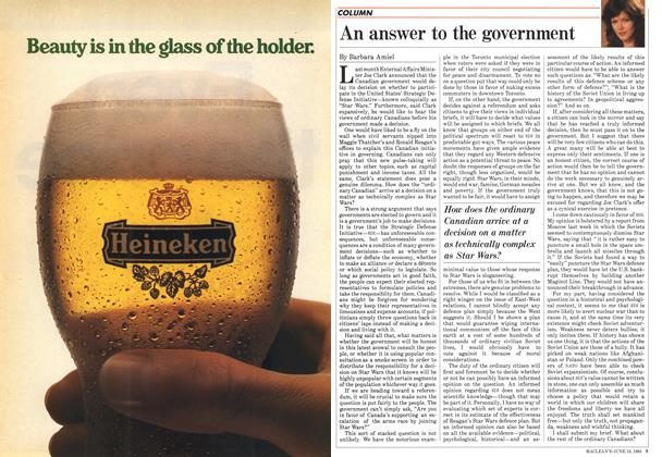 Article Preview: An answer to the government, June 1985 | Maclean's