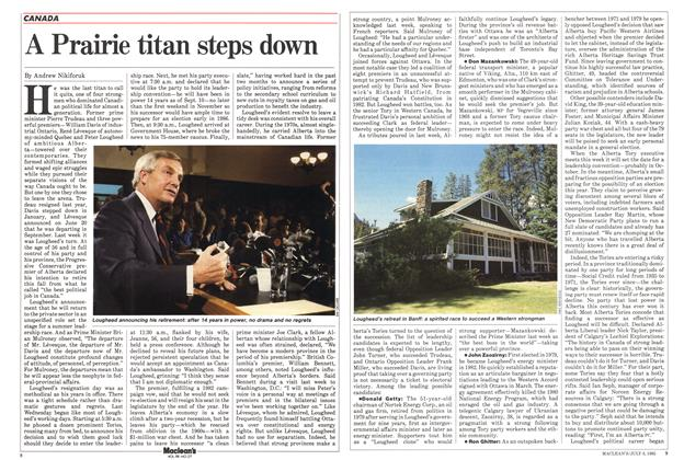 Article Preview: A Prairie titan steps down, July 1985 | Maclean's