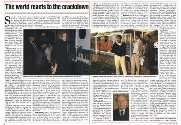 Article Preview: The world reacts to the crackdown, August 1985   Maclean's