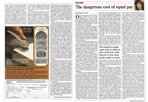 Article Preview: The dangerous cost of equal pay, August 1985 | Maclean's