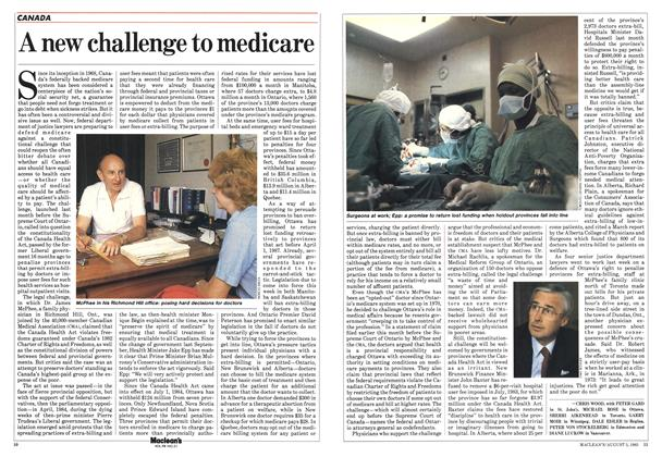 Article Preview: A new challenge to medicare, August 1985   Maclean's