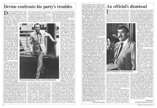 Article Preview: Devine confronts his party's troubles, August 1985 | Maclean's