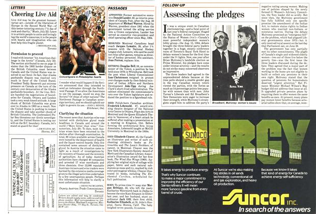 Article Preview: Assessing the pledges, August 1985 | Maclean's