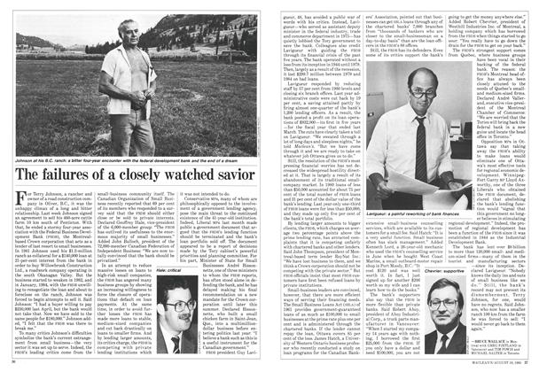 Article Preview: The failures of a closely watched savior, August 1985 | Maclean's