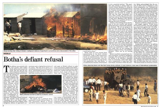 Article Preview: Botha's defiant refusal, August 1985   Maclean's