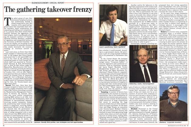 Article Preview: The gathering takeover frenzy, August 1985 | Maclean's