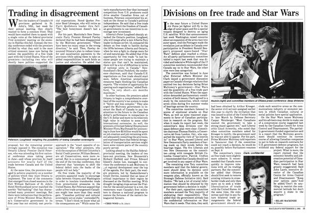 Article Preview: Divisions on free trade and Star Wars, September 1985 | Maclean's