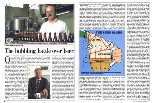 Article Preview: The bubbling battle over beer, September 1985 | Maclean's