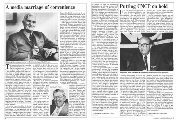 Article Preview: Putting CNCP on hold, September 1985 | Maclean's