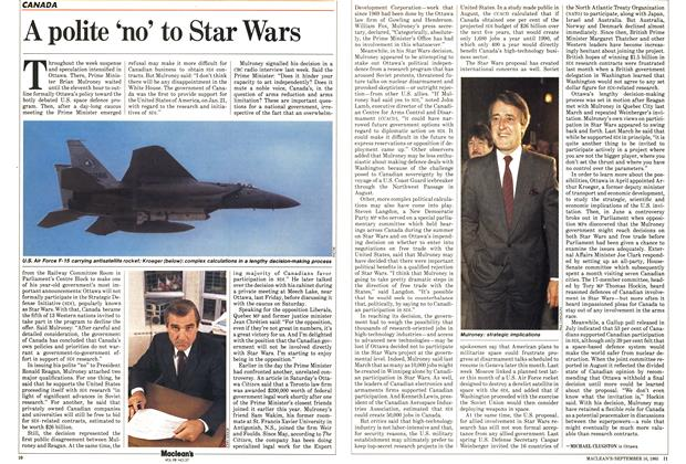 Article Preview: A polite 'no' to Star Wars, September 1985 | Maclean's