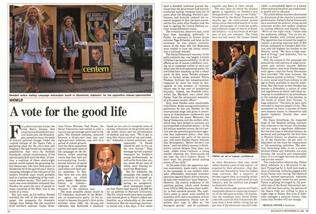 Article Preview: A vote for the good life, September 1985 | Maclean's