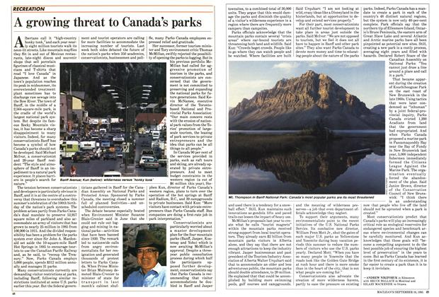 Article Preview: A growing threat to Canada's parks, September 1985 | Maclean's