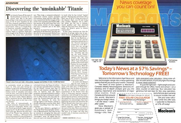 Article Preview: Discovering the 'unsinkable' Titanic, September 1985 | Maclean's
