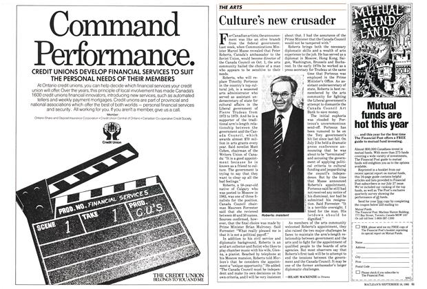 Article Preview: Culture's new crusader, September 1985 | Maclean's