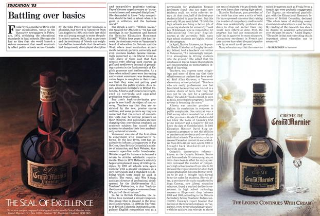 Article Preview: Battling over basics, September 1985   Maclean's