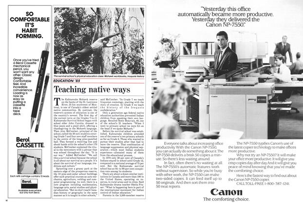 Article Preview: Teaching native ways, September 1985 | Maclean's