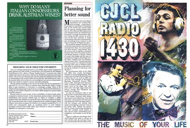 Article Preview: Planning for better sound, September 1985 | Maclean's