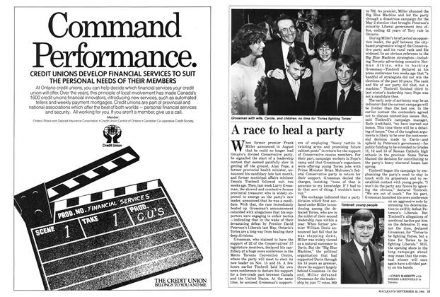 Article Preview: A race to heal a party, September 1985 | Maclean's