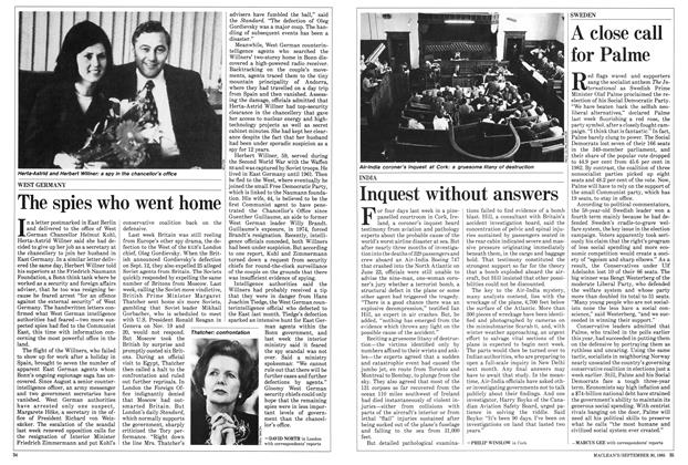 Article Preview: A close call for Palme, September 1985 | Maclean's
