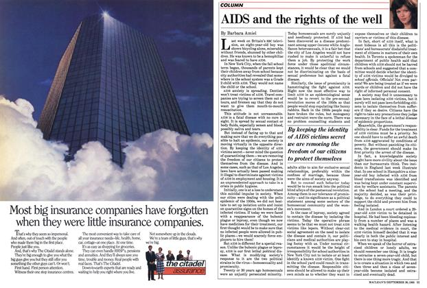Article Preview: AIDS and the rights of the well, September 1985 | Maclean's