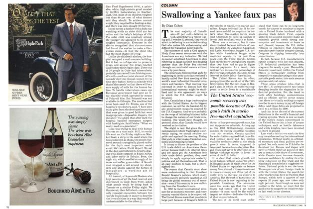 Article Preview: Swallowing a Yankee faux pas, October 1985 | Maclean's