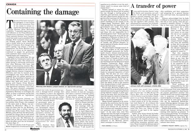 Article Preview: Containing the damage, October 1985 | Maclean's