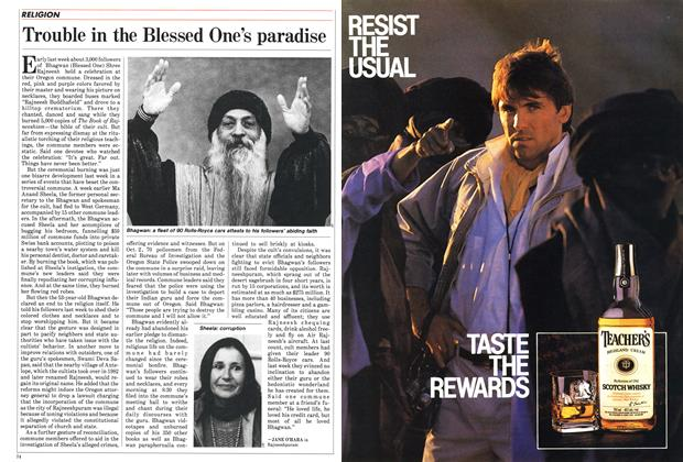 Article Preview: Trouble in the Blessed One's paradise, October 1985 | Maclean's
