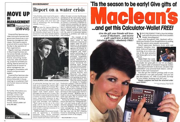 Article Preview: Report on a water crisis, October 1985 | Maclean's