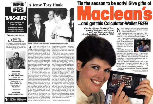 Article Preview: A tense Tory finale, October 1985 | Maclean's