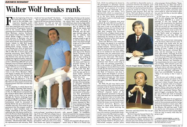 Article Preview: Walter Wolf breaks rank, October 1985 | Maclean's