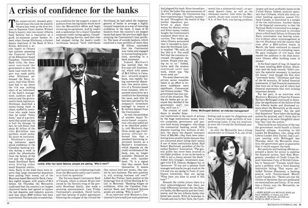 Article Preview: A crisis of confidence for the banks, October 1985 | Maclean's