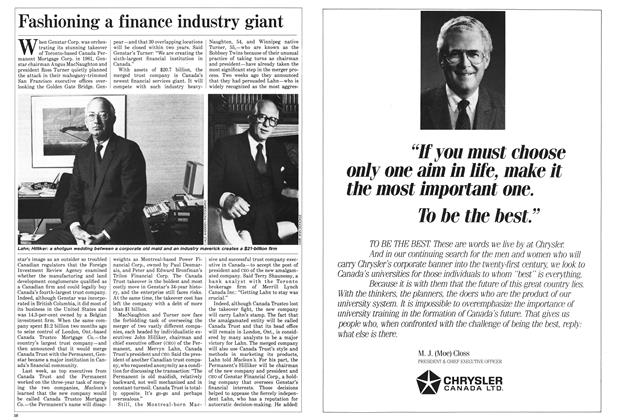 Article Preview: Fashioning a finance industry giant, October 1985 | Maclean's