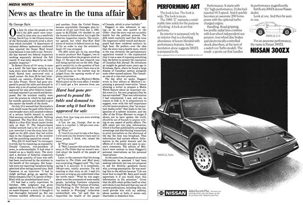 Article Preview: News as theatre in the tuna affair, October 1985 | Maclean's