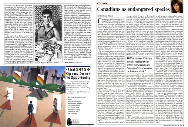 Article Preview: Canadians as endangered species, October 1985 | Maclean's