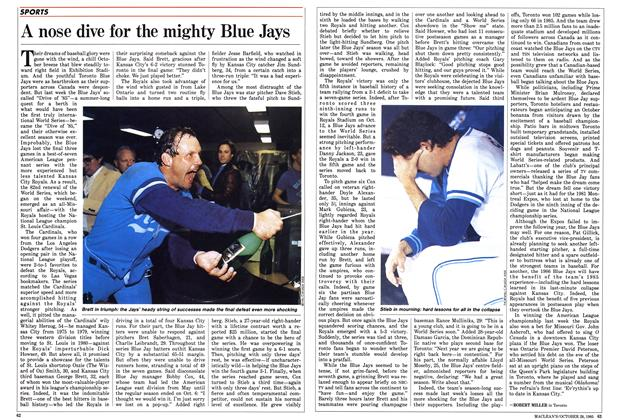 Article Preview: A nose dive for the mighty Blue Jays, October 1985 | Maclean's