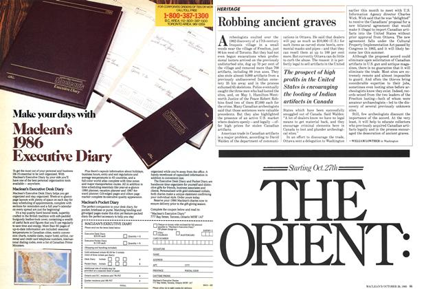 Article Preview: Robbing ancient graves, October 1985 | Maclean's