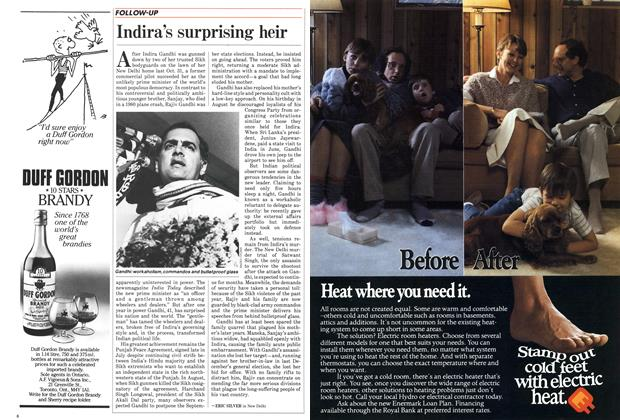 Article Preview: Indira's surprising heir, October 1985 | Maclean's