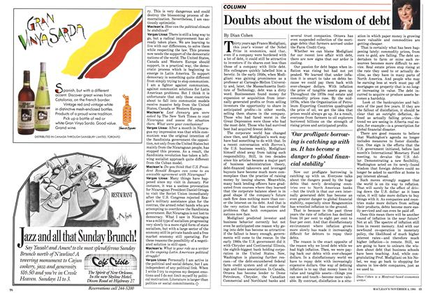 Article Preview: Doubts about the wisdom of debt, November 1985   Maclean's