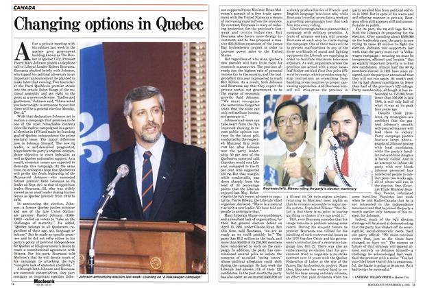 Article Preview: Changing options in Quebec, November 1985 | Maclean's