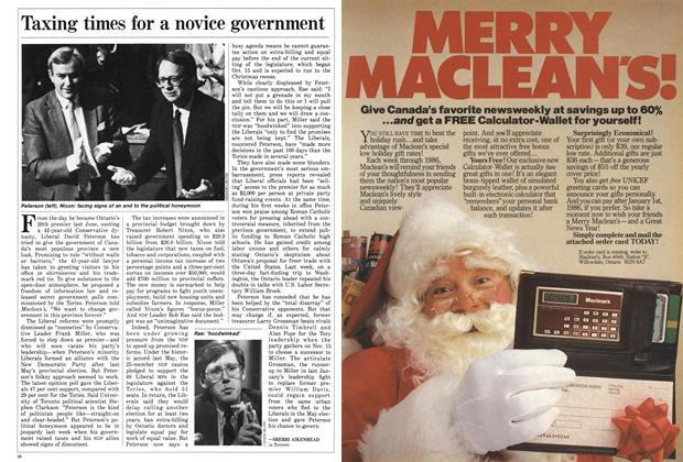 Article Preview: Taxing times for a novice government, November 1985 | Maclean's