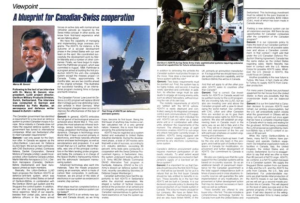 Article Preview: A blueprint for Canadian-Swiss cooperation, November 1985 | Maclean's